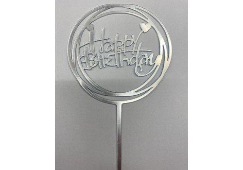 happy birthday topper hart zilver