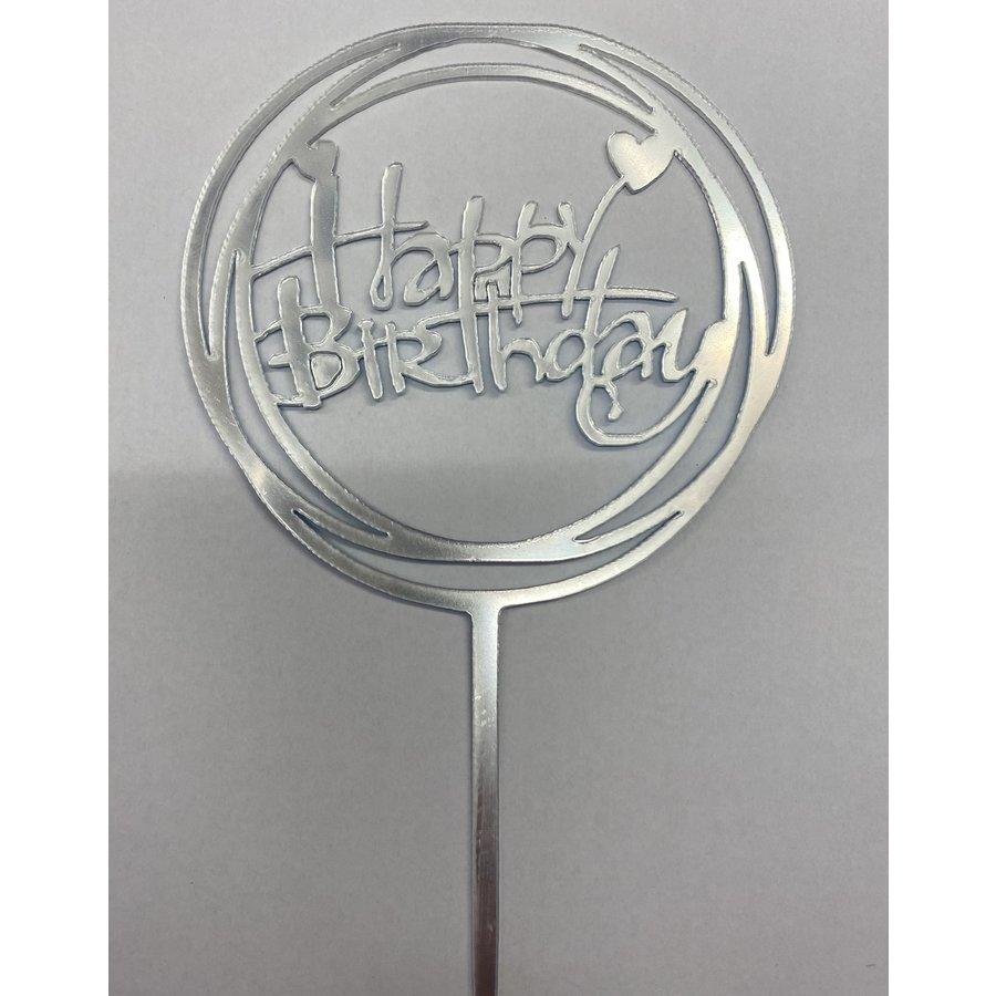 happy birthday topper hart zilver-1