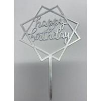 happy birthday topper square zilver