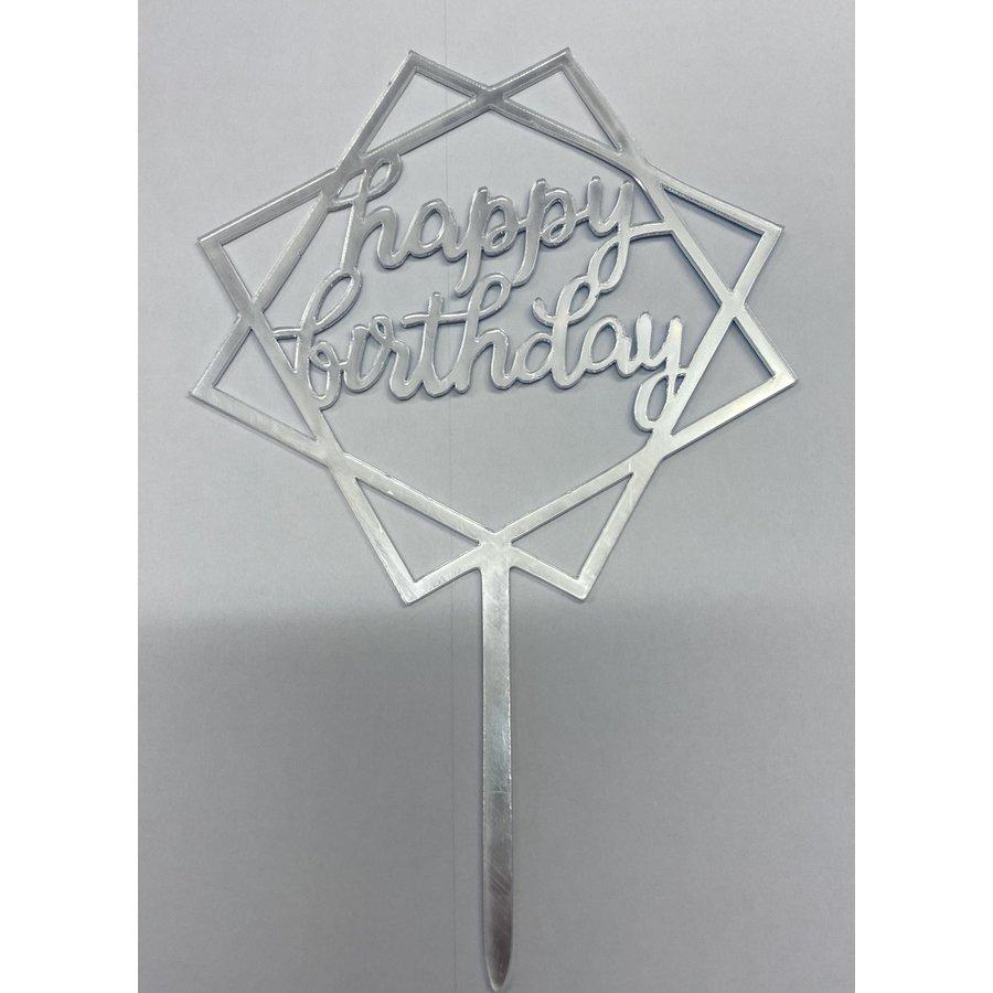 happy birthday topper square zilver-1