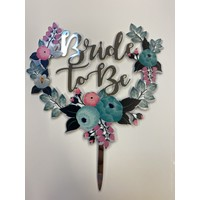 Topper bride to be zilver acryl