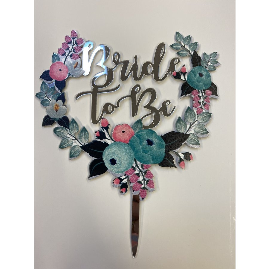 Topper bride to be zilver acryl-1