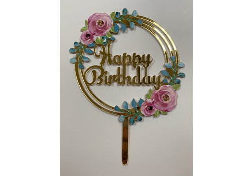 Topper happy birthday bloem rond acryl