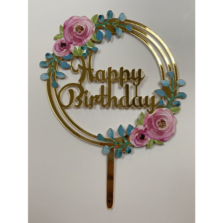 Topper happy birthday bloem rond acryl-1