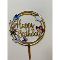 Topper happy birthday vlinder rond acryl
