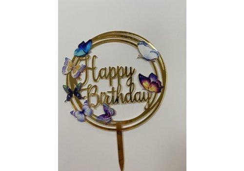 Topper happy birthday vlinder rond acryl