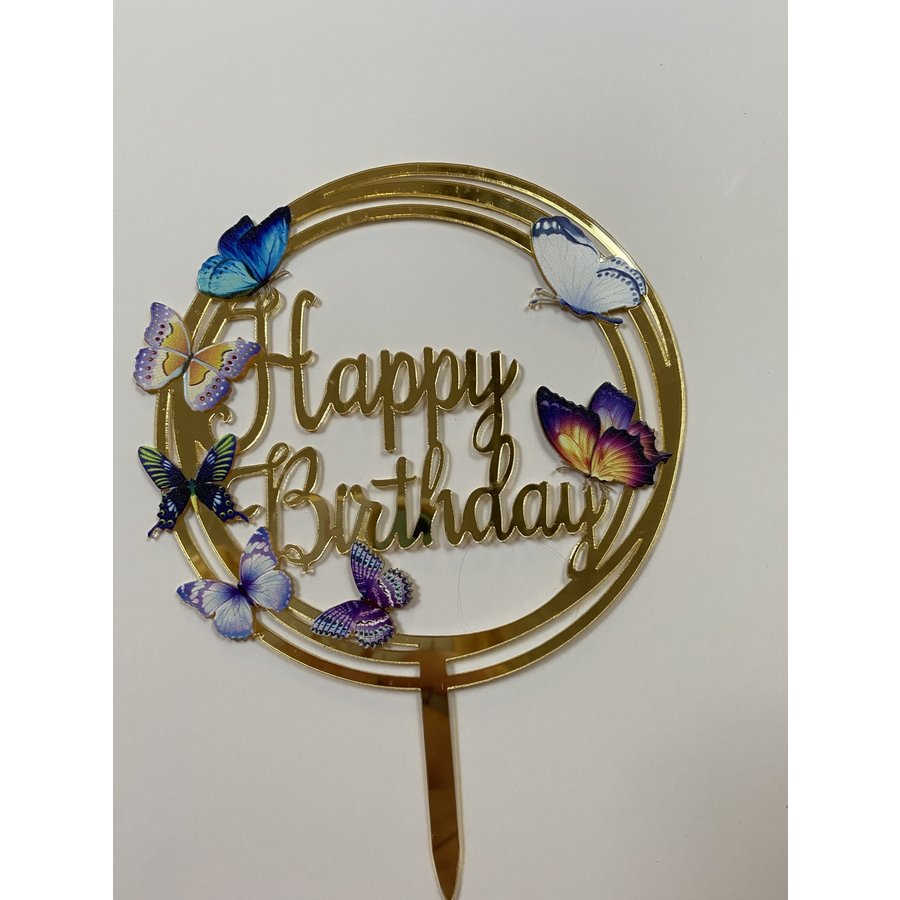 Topper happy birthday vlinder rond acryl-1