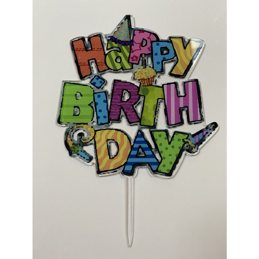 Topper happy birthday feest acryl-1