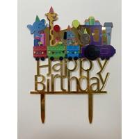 Topper happy birthday trein acryl