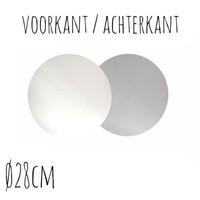 Taartonderzetter Wit / Zilver Ø28 cm per stuk