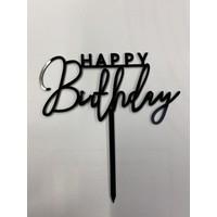 happy birthday topper streep zwart