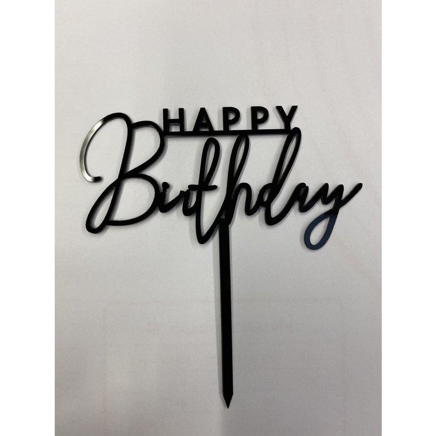 happy birthday topper streep zwart-1
