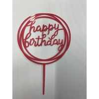 happy birthday topper rond roze