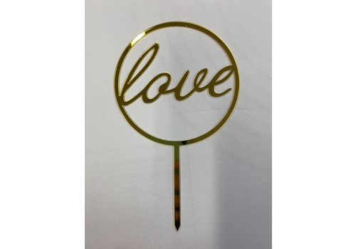 Love rond topper acryl goud