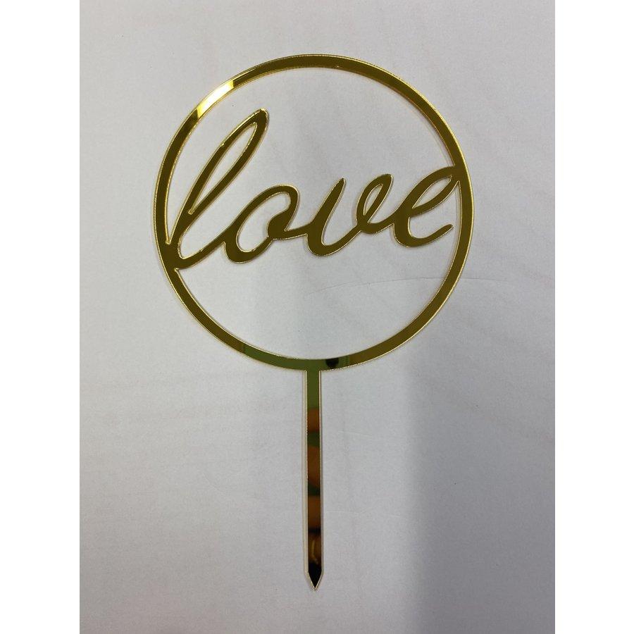 Love rond topper acryl goud-1