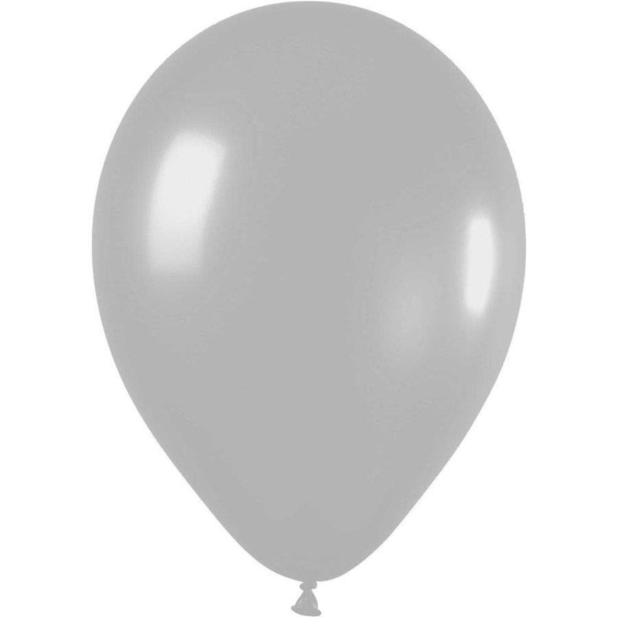 Ballonnen Metallic Zilver 30cm 10st-1
