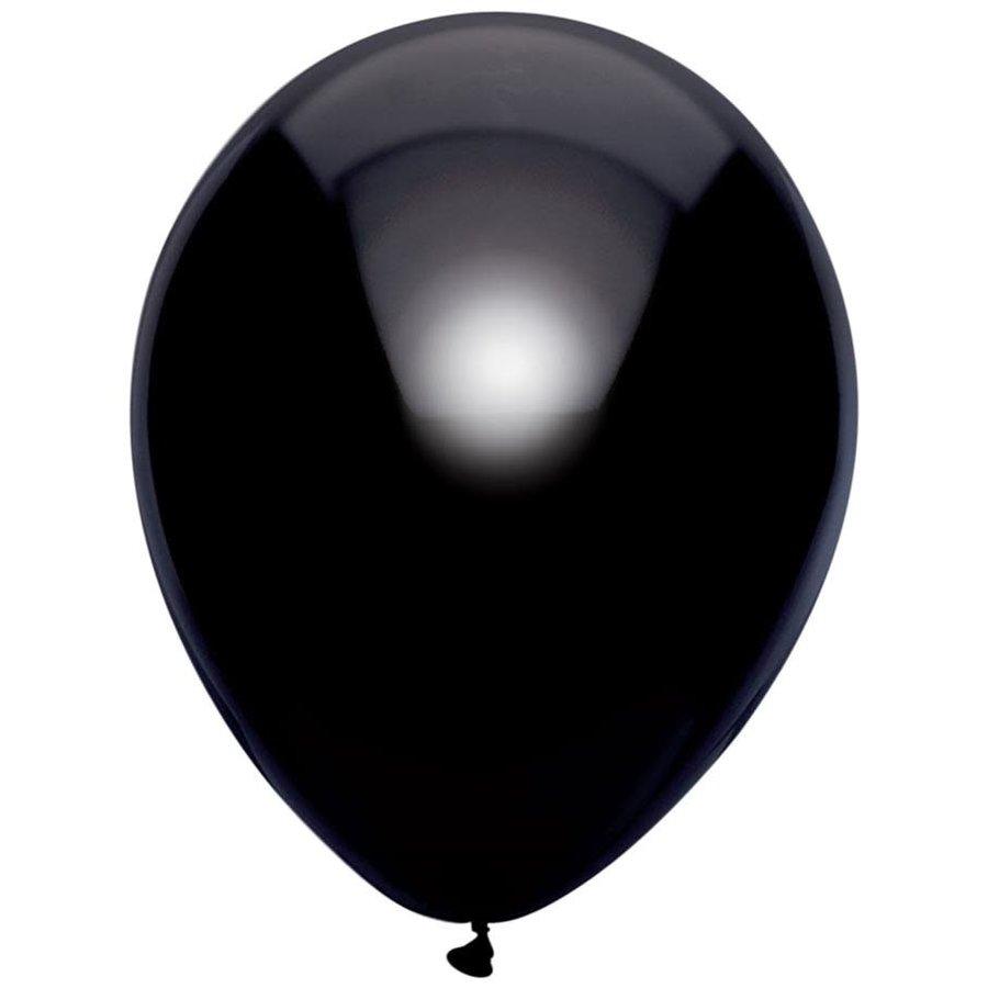Ballonnen Metallic Zwart 30cm 10st-1