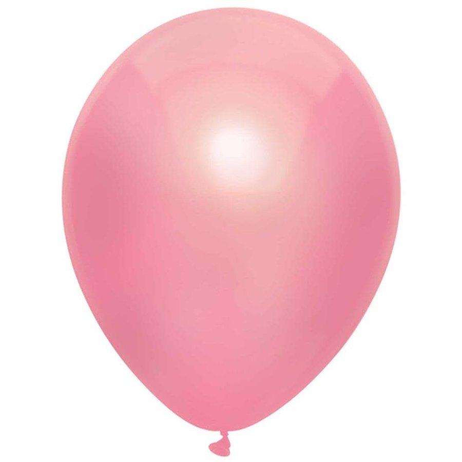 Ballonnen Metallic Roze 30cm 10st-1