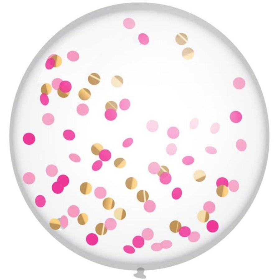 """XL Confettiballon """"Princess Pink"""" 60cm-1"""