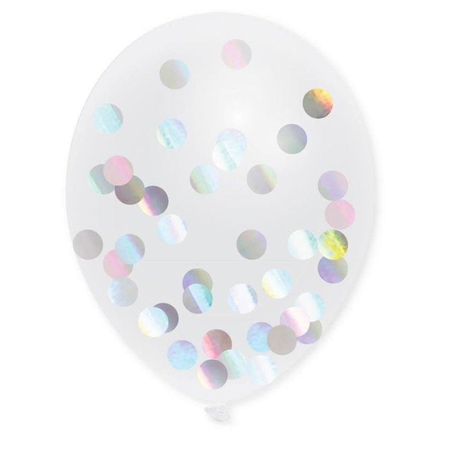 Confettiballonnen met Metallic Holographic Confetti 30cm 5st-1