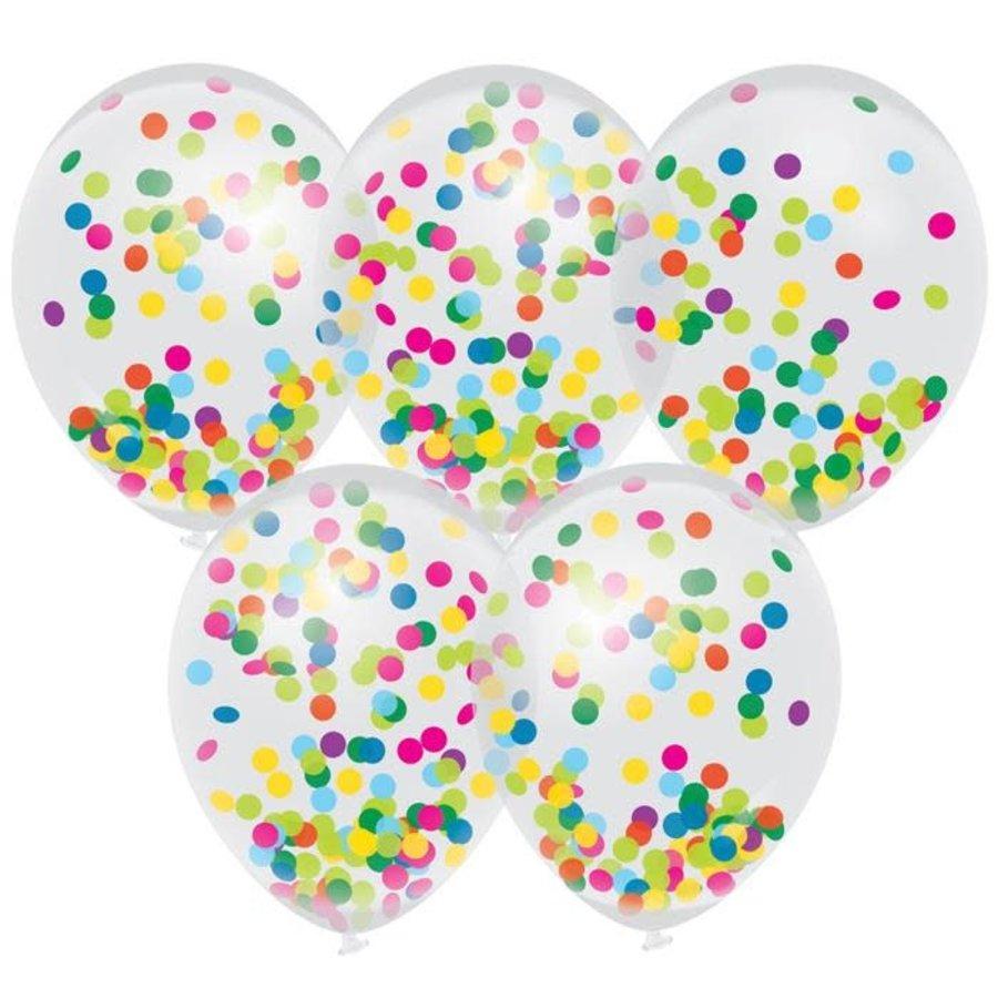 Confettiballonnen met multicolor confetti 30cm 5st-1