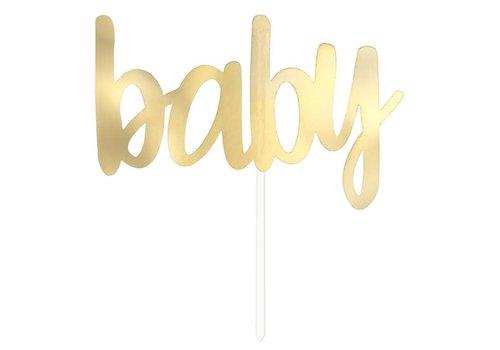 "Taartprikker "" Baby"" Goud 15cm"