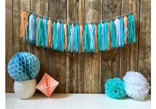 Tassel slinger pastel blauw DIY