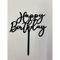 Cake topper Happy Birthday zwart  art deco acryl