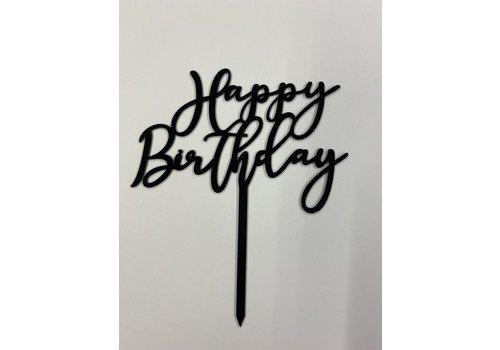 Cake topper Happy Birthday zwart  art deco acryl