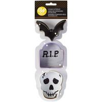 Wilton Cookie Cutter Bat-Tombstone-Skull Set/3