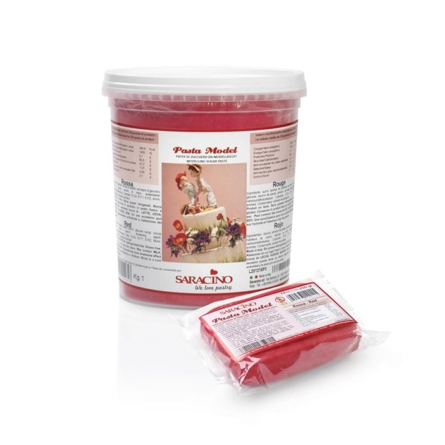saracino modeling paste red rood 1kg-1