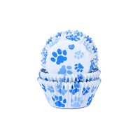 House of Marie Baking Cups hondenpoot blauw pk/50