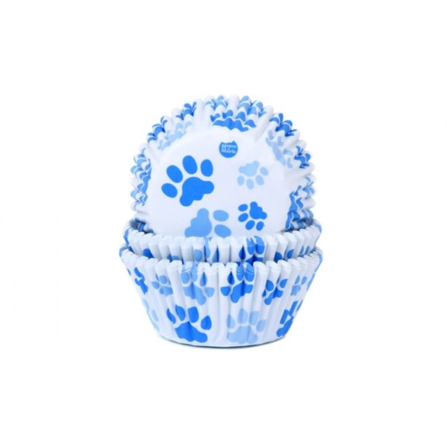 House of Marie Baking Cups hondenpoot blauw pk/50-1