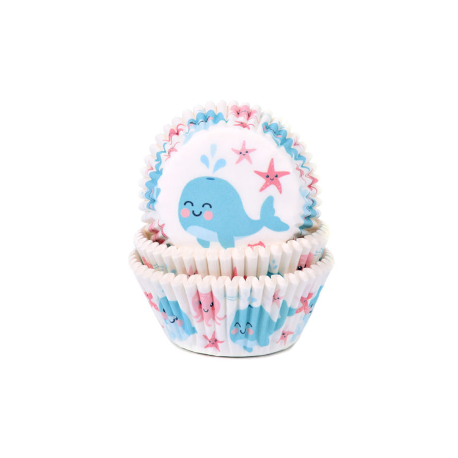 House of Marie Baking Cups walvis gender reveal pk/50-1