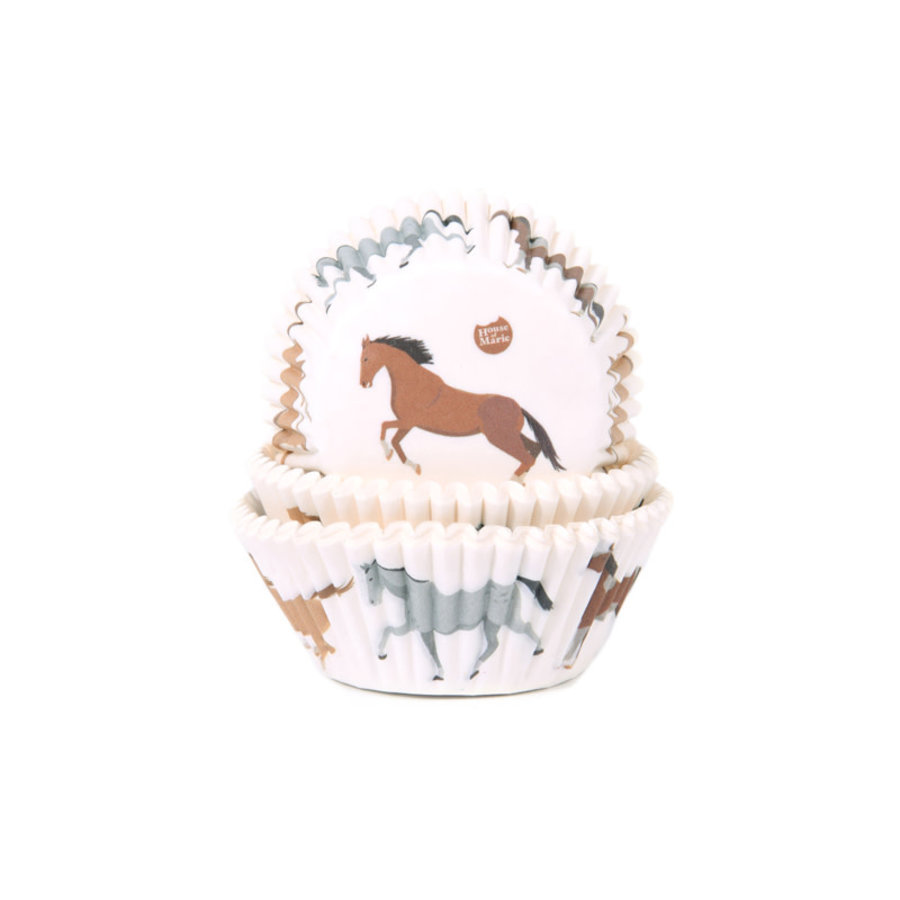 House of Marie Baking Cups paarden  pk/50-1