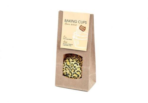 House of Marie luipaard baking cups geel 24st