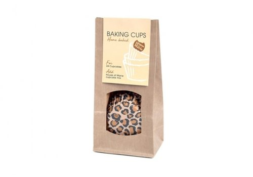 House of Marie luipaard baking cups bruin 24st