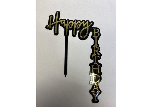 Happy birthday topper hoek zwart