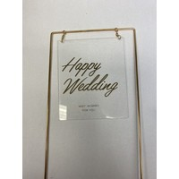 thumb-happy wedding topper metaal square transparant-1