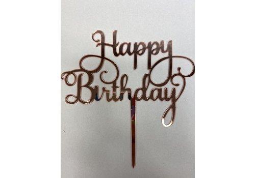 Cake topper Happy Birthday rose acryl