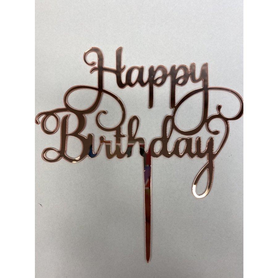 Cake topper Happy Birthday rose acryl-1