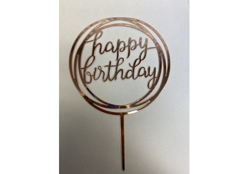 happy birthday topper rond rose gold