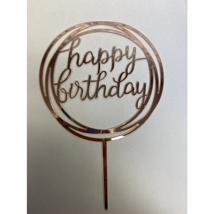 happy birthday topper rond rose gold-1