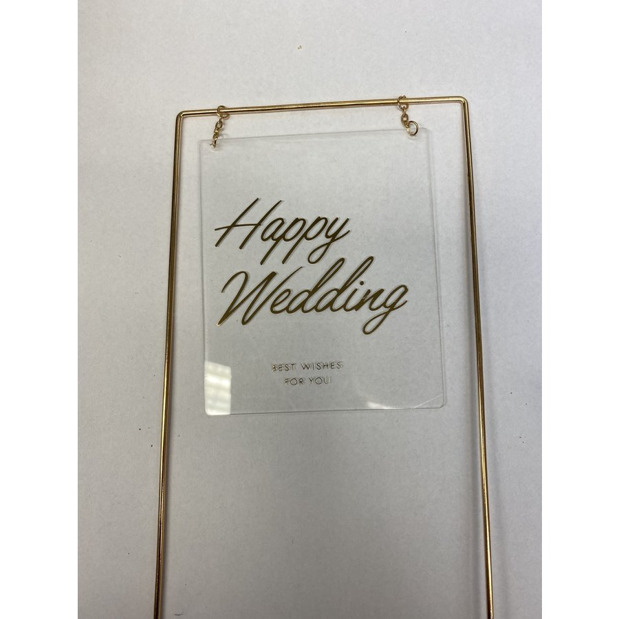 happy wedding topper metaal square transparant-2