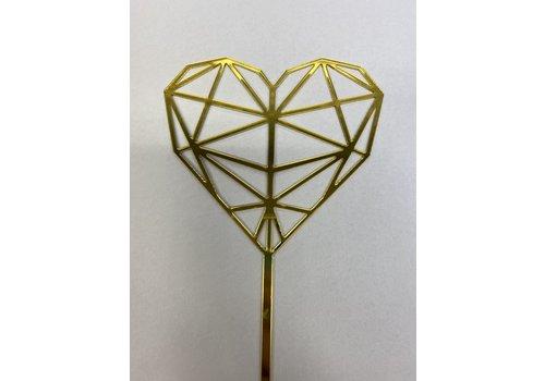 geometrisch hart topper acryl goud