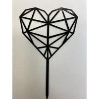 geometrisch hart topper acryl zwart