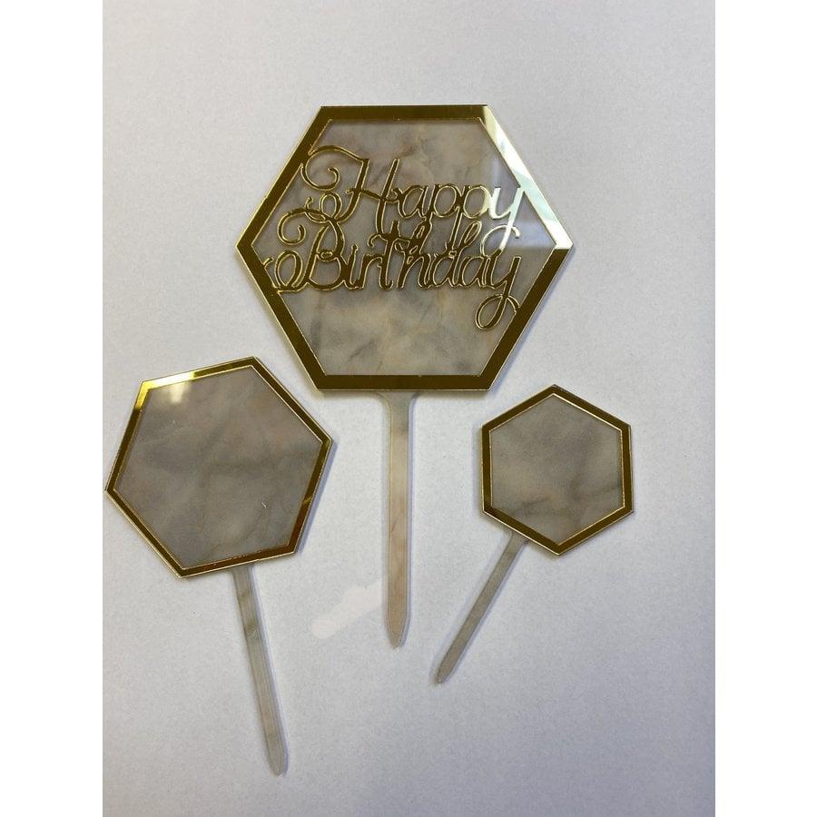 Hexagon topper marmer wit-2