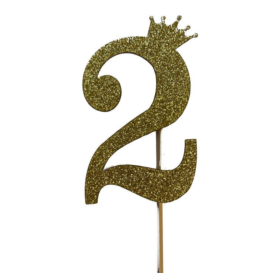 glitter prikker kroon goud cijfer 2-1