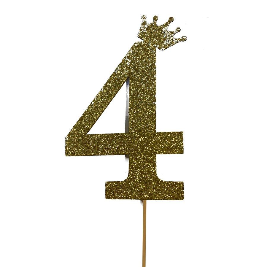 glitter prikker kroon goud cijfer 4-2