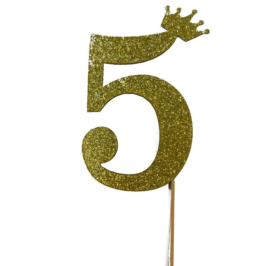 glitter prikker kroon goud cijfer 5-1